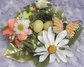 Green and Orange Bird's Nest Whimsical Woodland Flower Fairy Fascinator