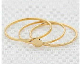 Gold Stackable ring, knuckle ring, dainty thin ring, 3 gold rings, delicate gold filled jewelry