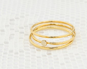 Gold Stackable ring set Thin dainty 3 gold rings knuckle gold filled ring enamel ring delicate jewelry