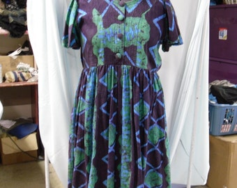 ladies african purple and green dress