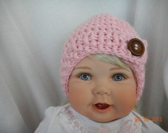 Pink Baby Crochet Hat with Wood Button Trim