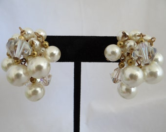 Vintage Faux Pearl and Aurora Borealis Bead Clip Earrings - Lovely Mid Century Earrings - Retro Modern Clip Earrings