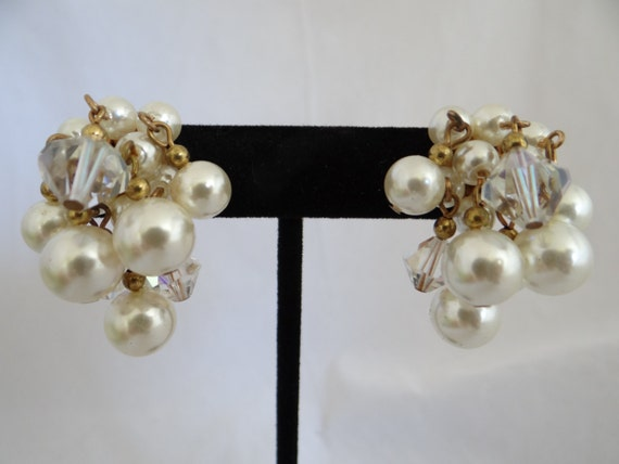 Vintage Faux Pearl and Aurora Borealis Bead Clip Earrings - Lovely