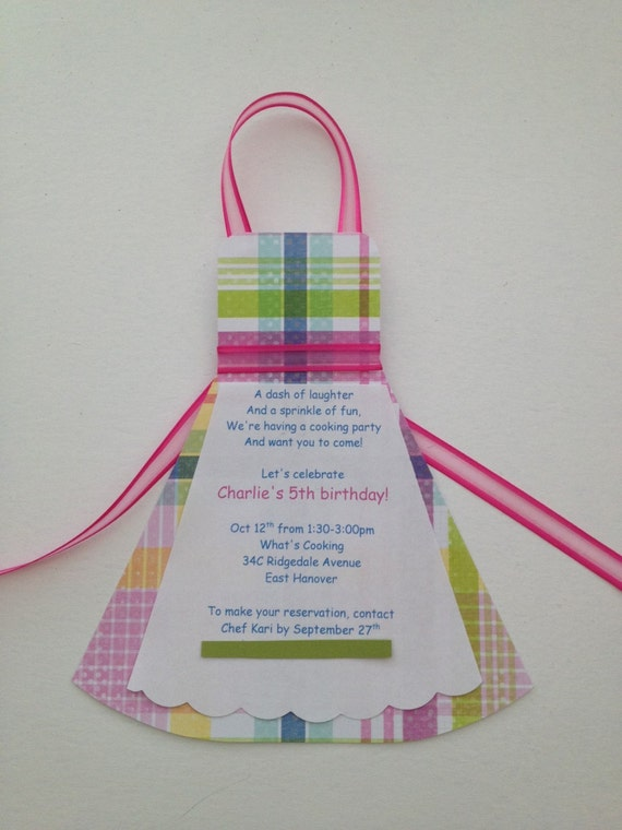 Chef Apron Birthday Party Invitation – Cooking Birthday Party Invitations
