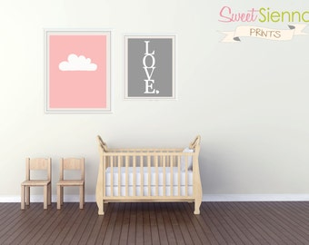 "Instant Download Baby Girl Nursery Art, Nursery Prints, Kids Wall Art, Baby Girls Room, Cloud and LOVE Art - 1- 11x14' and 1- 8x10"" PDF"