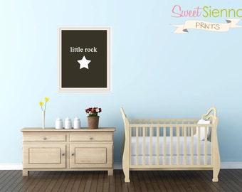 Nursery Art Prints, Kids Wall Art, Baby Boy or Girl Nursery Decor, Playroom Art - Little Rock Star, 5x7 PDF