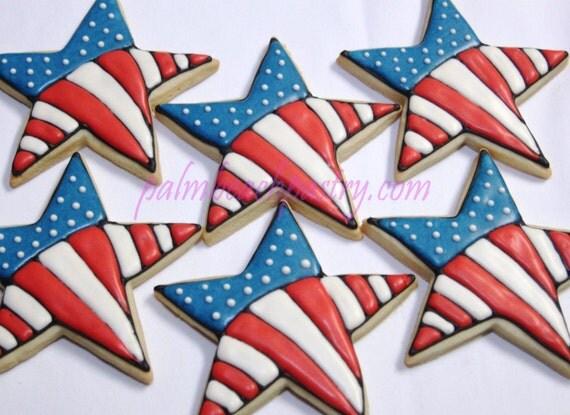 Star Usa Patriotic Flag Decorated Sugar Cookies 1 Dozen 12