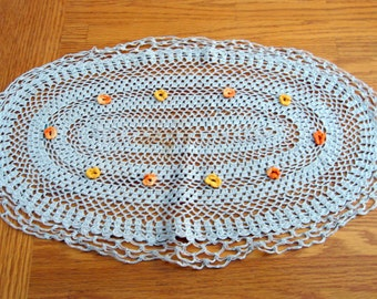 1950s Crochet Handmade Oval Doily with Yellow Flowers