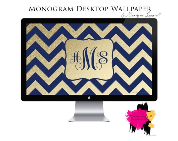 monogram desktop wallpaper navy gold chevron