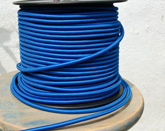 6 Feet Blue Cloth Covered 3-Wire Round Cord, Vintage Style Fabric Lamp Pulley Cord, For Hanging Pendants, Fans, Antique Lamps,