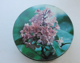 Vintage Round Cookie Biscuit Green Tin Purple Lilacs