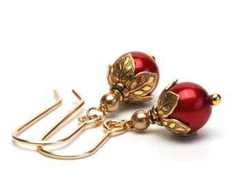 Red and Gold Earrings - Crystal Pearls with Gold Accents and Gold Filled Earwires - Holiday Jewelry - Christmas Earrings