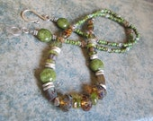 A Walk in the Woods - Mossy Green Serpentine and Amber Czech Glass Necklace