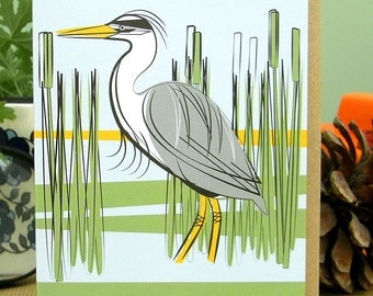 Original 'A Natural History (Part Two)' Grey Heron Greetings Card by Mark Greco