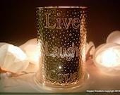 Live Laugh Love - copper home decor - copper anniversary gift - copper lantern - 7th anniversary - garden lights - home lighting - tin punch