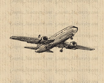 Plane Aircraft Airliner Traveling Graphics Digital Image Download Iron on Transfer Clip Art pillows fabric bags tea towels PNG JPG Sepia