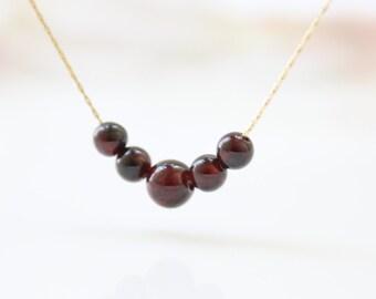 Garnet gold necklace - garnet gemstone beads on a gold necklace, January birthstone necklace