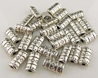 Tibetan silver  tube spacer beads,  antique silver, 1mm hole, 25 pieces