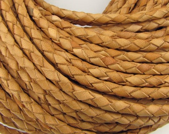 5mm round Sandy Brown braided leather cord, 2 feet