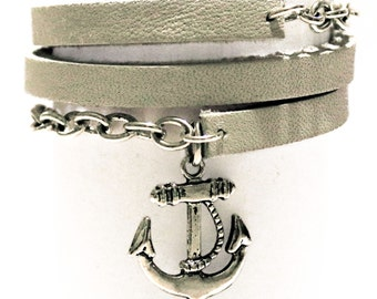 White leather and chain wrap bracelet with anchor charm