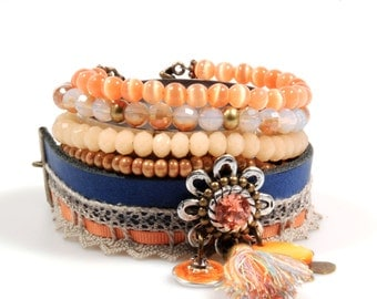 Bohemian gypsy bracelet light orange, peach, blue - cuff with charms, tassel, leather and beads - Ibiza style - handmade