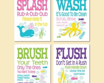 "Childrens Kids Bathroom Art Prints Set of (4) 5"" x 7"" or 8"" x 10"" Fine Art Home Decor Colors - Glass Blue, Pink, Lime, Purple"