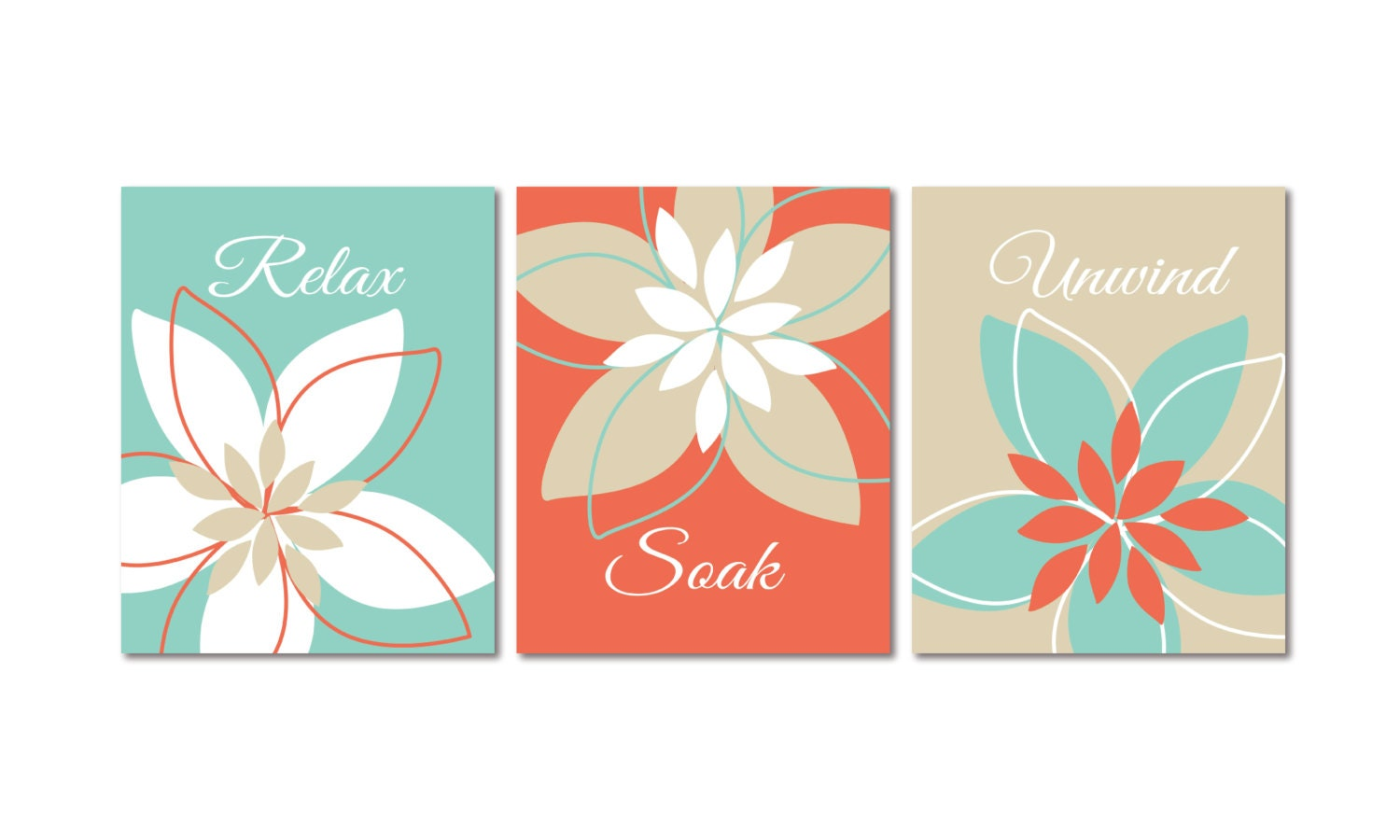 Relax Soak Unwind Abstract Floral Bathroom Art Prints Set Of 3 8 X
