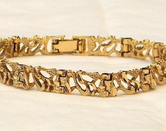 Vintage Diamond Cut Stippled Links Bracelet