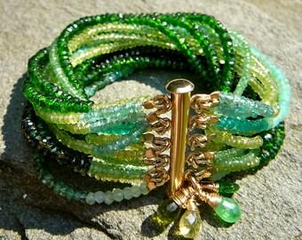 Green Gemstone Bracelet, Multistrand Tourmaline Cuff, Emerald Jewelry, Green Gems, Peridot Bracelet, Diopside, Peridot Jewelry, Green Garnet