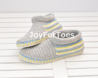 Crochet Shoes Grey Slippers for the street  Outdoor Shoes Boots Made to Order