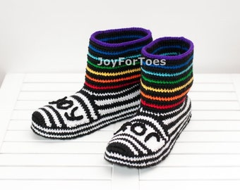 Unisex Slippers Rainbow Shoes Crochet Slippers Home Boots Slippers joyfortoes for the Home Cozy house shoes Colorful Clogs House Clothing
