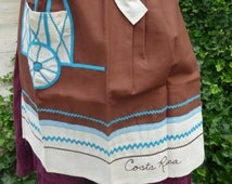 SALE Mod Tablecloth Napkins and Apron Set Made in Costa Rica 1960s