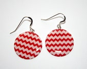 "Listing for dmh0925 Red Chevron Earrings - 1"" circle"