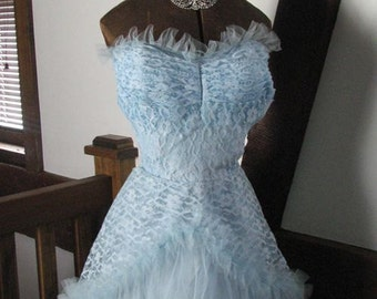 1950s Blue Lace and Tulle gown with Jacket and Tiara..........size Small to Medium