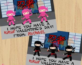 DIY Printable Favor Cards- Girl and Boy Ninja Valentines Day Tags -Holiday Cards -School Treats -Holiday