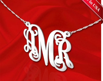 Monogram Necklace 1.25 inch Vine Sterling Silver Handcrafted Personalized Initial Necklace - Made in USA