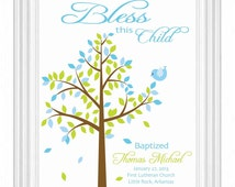 BAPTISM GIFT -Christening Gift - Personalized Gift for Baptism - Dedication Gift - Personalized Wall Print for Nursery - Gift from Godmother