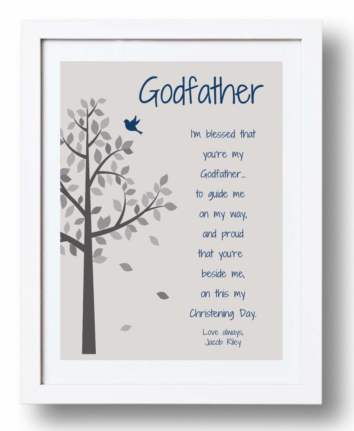 GODFATHER Gift for Baptism Day 8x10 Print Personalized