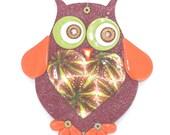Owl for nursery wall decor, Big love owl wall decor, polymer clay elegant owl in maroon, green, orange, gold and red