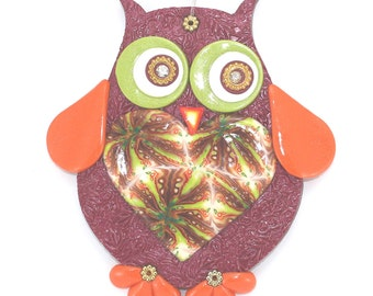 Owl for nursery wall decor, Big love owl wall decor, polymer clay elegant owl in maroon, green, orange, gold and red