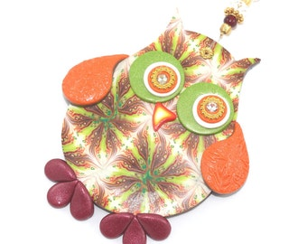 Wall decor owl, polymer clay elegant owl, a single owl in maroon, green, orange, gold and red, nursery owl decor