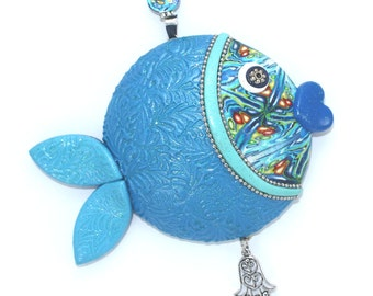 Wall decor fish, unique fortune fish, lucky fish, fish of fortune, Polymer clay handmade fish in blue, turquoise, green, Rosh Hashanah gift