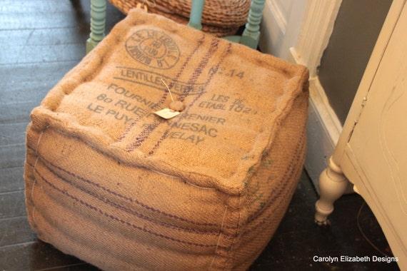 Jute Grain Sack Pouf Or Ottoman By Cedathome On Etsy
