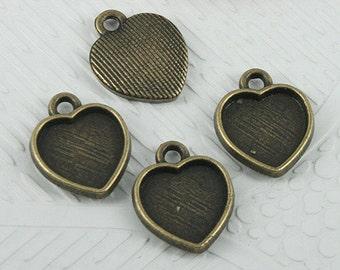 40pcs antiqued bronze color heart shaped cabochon settings EF0600