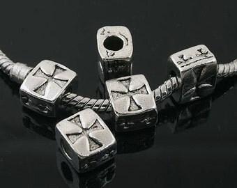 12pcs Tibetan Silver tone spacer Beads Fit European Bracelet L0012