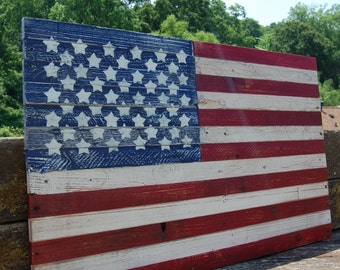 Wooden Flag - Americana - Patriotic Distressed Art - Stars and Stripes
