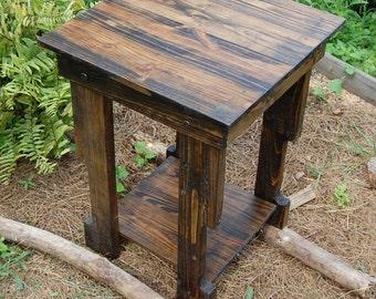 Side Table/ Reclaimed Wood Table/ End Table/ Dark Walnut