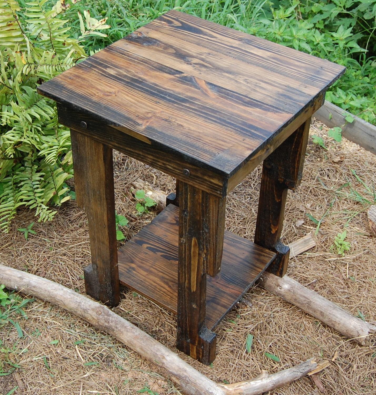 side table reclaimed wood table end table dark walnut. Black Bedroom Furniture Sets. Home Design Ideas