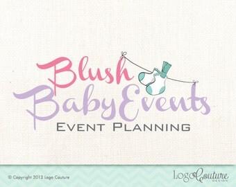 Premade Event Planning Logo - Blush Baby Events - Baby Socks - Logo for Baby Event Planning - Baby Shower - Birthday