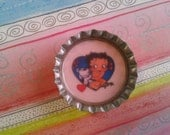 Betty Boop puppy love bottlecap magnet